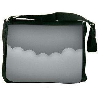 Minimalistic Gray Clouds Digitally Printed Laptop Messenger  Bag