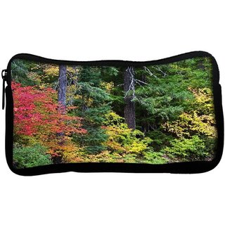 autumn forest background Poly Canvas  Multi Utility Travel Pouch