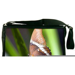Brown Butterfly Digitally Printed Laptop Messenger  Bag