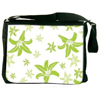 Green Petals Digitally Printed Laptop Messenger  Bag
