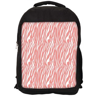 White Strips Cream Pattern Digitally Printed Laptop Backpack