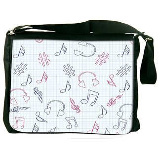Headset And Music Digitally Printed Laptop Messenger  Bag
