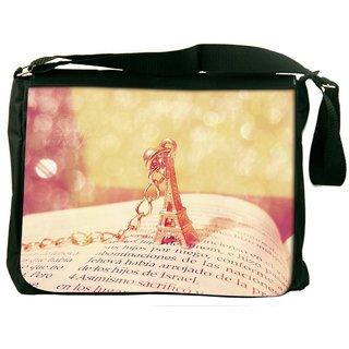 Cute Eiffel Tower Digitally Printed Laptop Messenger  Bag