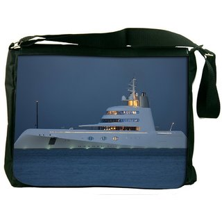 White Big Boat Digitally Printed Laptop Messenger  Bag
