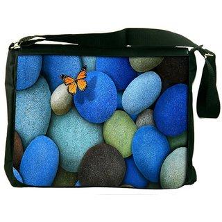 Colorful Pebble Stone Digitally Printed Laptop Messenger  Bag
