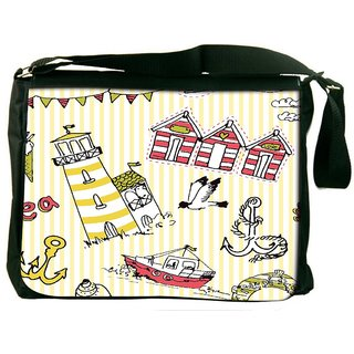 Light House Digitally Printed Laptop Messenger  Bag