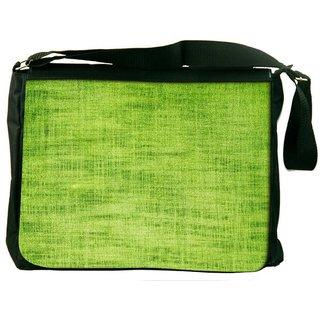 Green Fabric Texture Digitally Printed Laptop Messenger  Bag