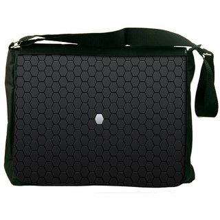 White Block In Grey Design Digitally Printed Laptop Messenger  Bag