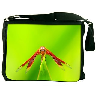 Dragonfly In Green Grass Digitally Printed Laptop Messenger  Bag