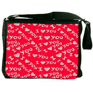 I Love You Red Pattern Digitally Printed Laptop Messenger  Bag