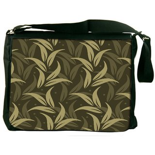 Green Leaves Digitally Printed Laptop Messenger  Bag