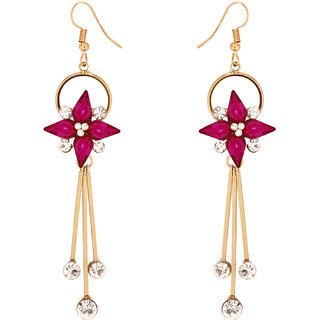 Penny Jewels Alloy Party Wear Latest Designer Colorful Flowers Hanging Earring Set For Women  Girls