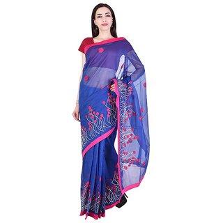 Binori Women's Aari Work  Pure Kota  Supernet Cotton Saree With Blouse (Blue)