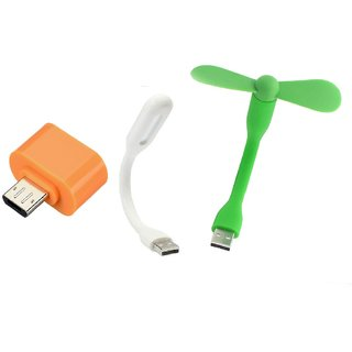 3 in 1 combo of Otg Adaptor, USB Fan  USB Led Light by KSJ Accessories (Tricolor combo No 26)