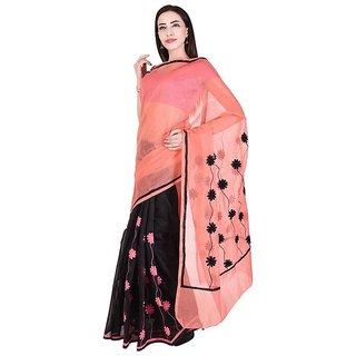Binori Women's Aari Work  Pure Kota  Supernet Cotton Saree With Blouse (Multicolor)