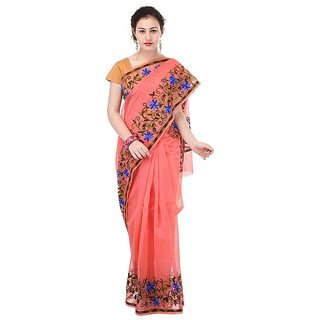 Binori Women's Aari Work  Pure Kota  Supernet Cotton Saree With Blouse (Orange)