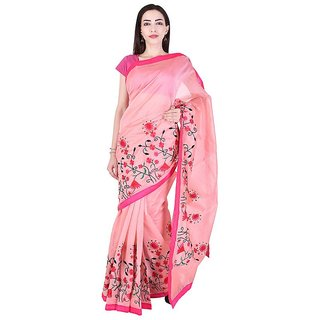 Binori Women's Aari Work  Pure Kota  Supernet Cotton Saree With Blouse (Pink)