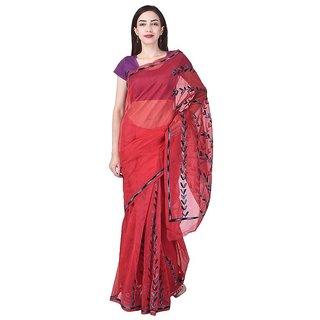Binori Women's Aari Work  Pure Kota  Supernet Cotton Saree With Blouse (Red)