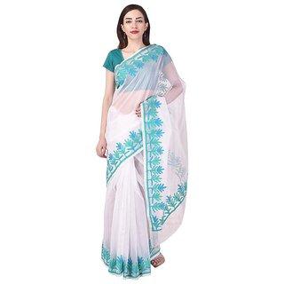Binori Women's Aari Work  Pure Kota  Supernet Cotton Saree With Blouse (White)