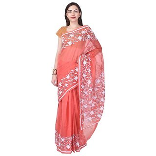 62f9ad303f9f1 Binori Women s Aari Work Pure Kota Supernet Cotton Saree With Blouse  (Orange)