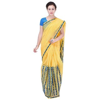 Binori Women's Aari Work  Pure Kota  Supernet Cotton Saree With Blouse (Yellow)