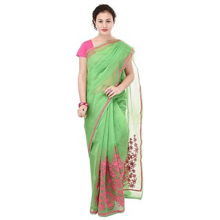 Binori Women's Aari Work  Pure Kota  Supernet Cotton Saree With Blouse (Green)