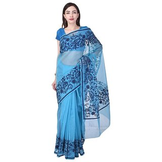 Binori Women's Aari Work  Pure Kota  Supernet Cotton Saree With Blouse (Blue)