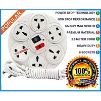 HITLER GERMANY Branded Extension Board / Power Strip 6 Amp 8 Plug Point with Master Switch, LED Indicator