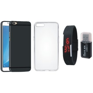 Motorola Moto C Plus Premium Quality Cover with Memory Card Reader, Silicon Back Cover, Digital Watch