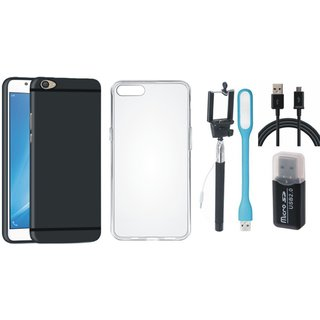 Motorola Moto C Plus Stylish Back Cover with Memory Card Reader, Silicon Back Cover, Selfie Stick, USB LED Light and USB Cable