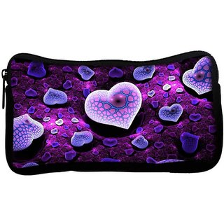 Purple Hearts Poly Canvas  Multi Utility Travel Pouch