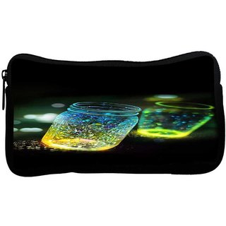 Fluorescence Glitter Glass Bottle In Bokeh Dark Poly Canvas  Multi Utility Travel Pouch