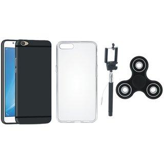 Motorola Moto C Plus Silicon Anti Slip Back Cover with Spinner, Silicon Back Cover, Free Silicon Back Cover and Selfie Stick