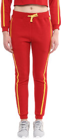GRIFFEL Women's Orange Solid Fleece Trackpant