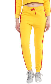 GRIFFEL Women's Yellow Solid Fleece Trackpant