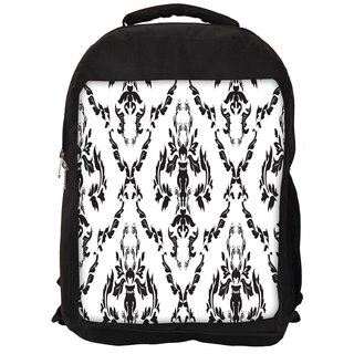 Black And White Pattern Digitally Printed Laptop Backpack