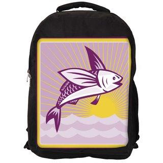 Flying Fish At Sea Ocean Square Retro Designer Laptop Backpacks