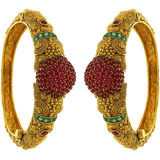 Anuradha Art Pink-Green Combination Simple /& Stylish Designer American Diamonds Bangles Set for Women//Girls