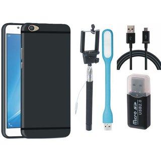 Motorola Moto E4 Premium Quality Cover with Memory Card Reader, Selfie Stick, USB LED Light and USB Cable