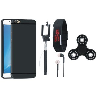 Motorola Moto E4 Soft Silicon Slim Fit Back Cover with Spinner, Selfie Stick, Digtal Watch and Earphones