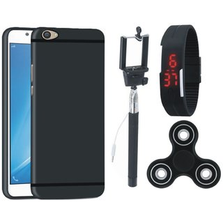 Motorola Moto E4 Soft Silicon Slim Fit Back Cover with Spinner, Selfie Stick and Digtal Watch