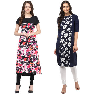 Colors Couture Multicolor Crepe Printed Stitched Kurti Combo
