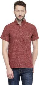Enchanted Drapes Men's Brown Solid 100% Cotton Short Regular Fit Kurta