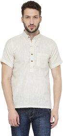 Enchanted Drapes Men's White Solid 100% Cotton Short Regular Fit Kurta