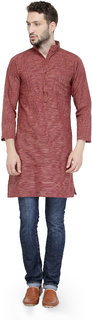 Enchanted Drapes Men's Brown Solid 100% Cotton Long Regular Fit Kurta