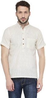 Enchanted Drapes Men's White Solid 100% Cotton Short Regular Fit Kurta