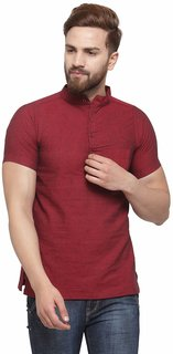 Enchanted Drapes Men's Red Solid 100% Cotton Short Regular Fit Kurta