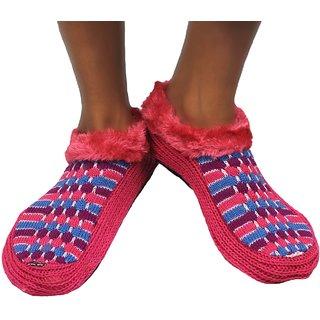 Neska Moda Premium Soft Cotton Women Pink Booties Cum Indoor Slippers BT187