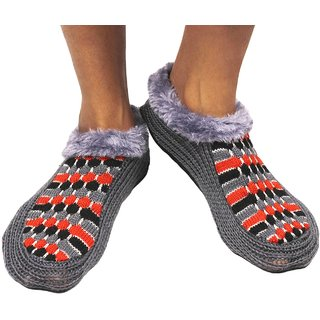 Neska Moda Premium Soft Cotton Women Grey Booties Cum Indoor Slippers BT189