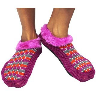 Neska Moda Premium Soft Cotton Women Purple Booties Cum Indoor Slippers BT191